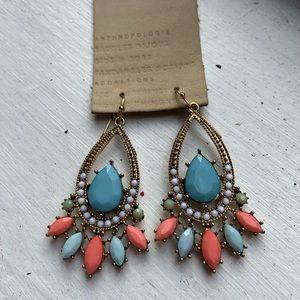Teal   Orange   Pearl   Mint- Statement Earrings